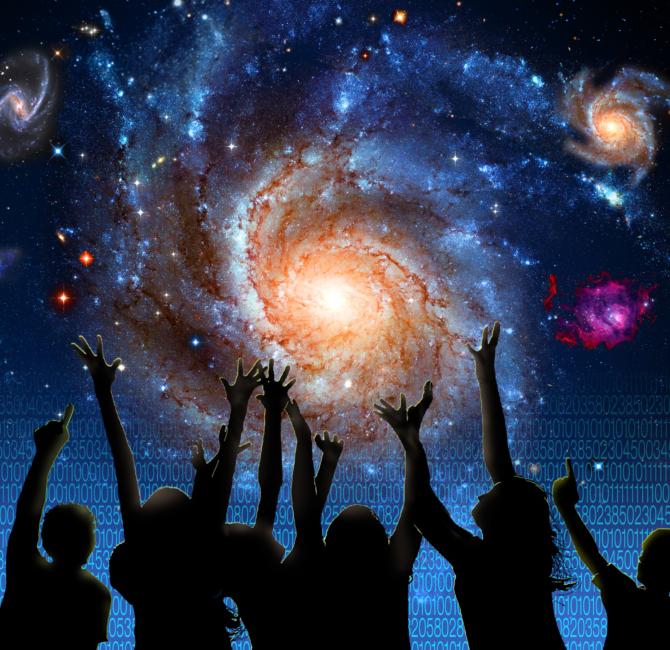 children reaching toward the galaxy