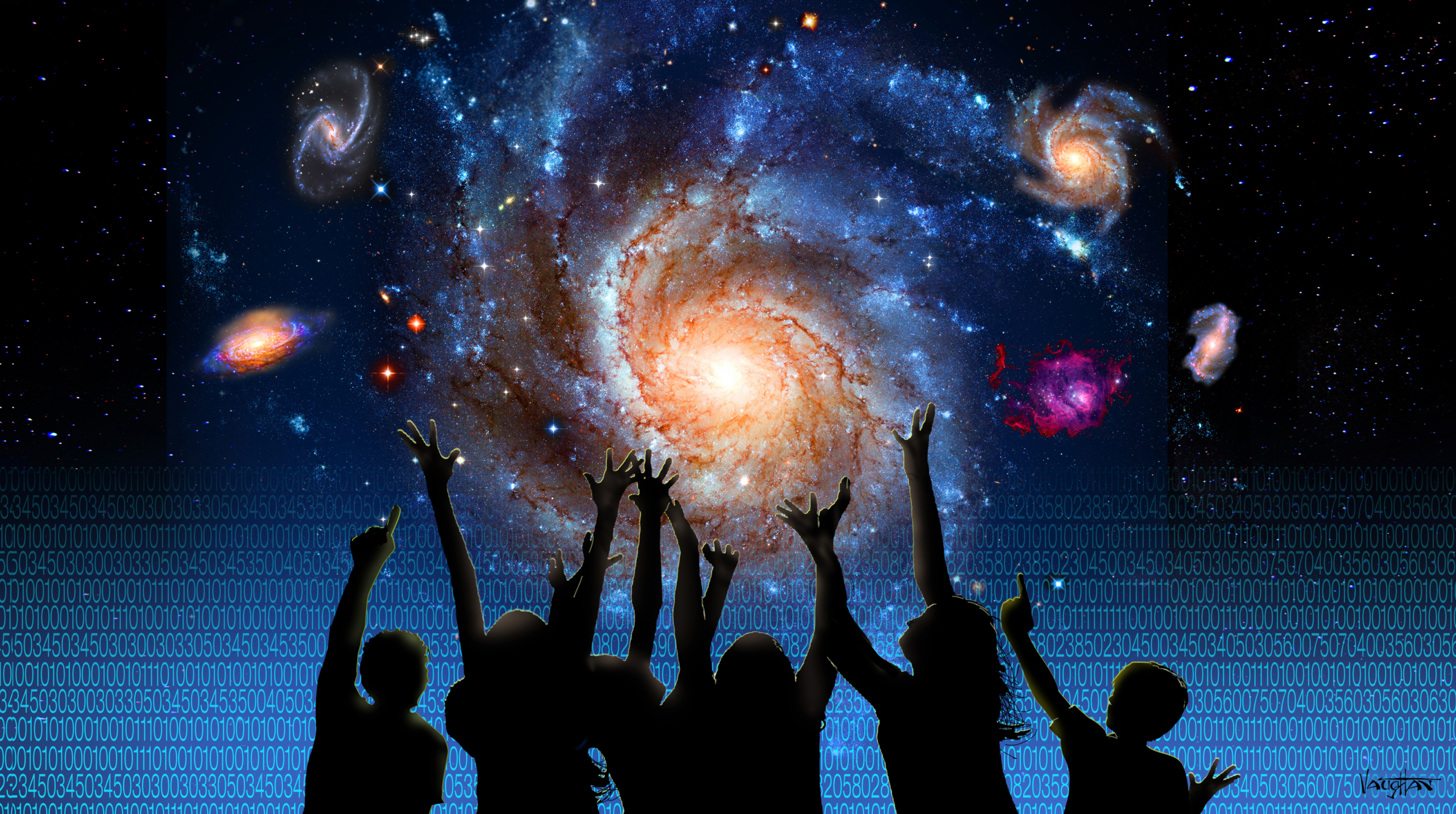 children reaching toward the galaxy
