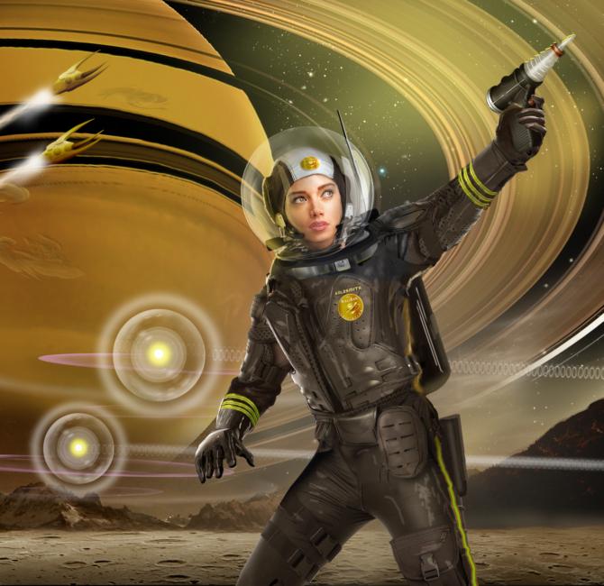 Scifi ranger shooting toward the sky.
